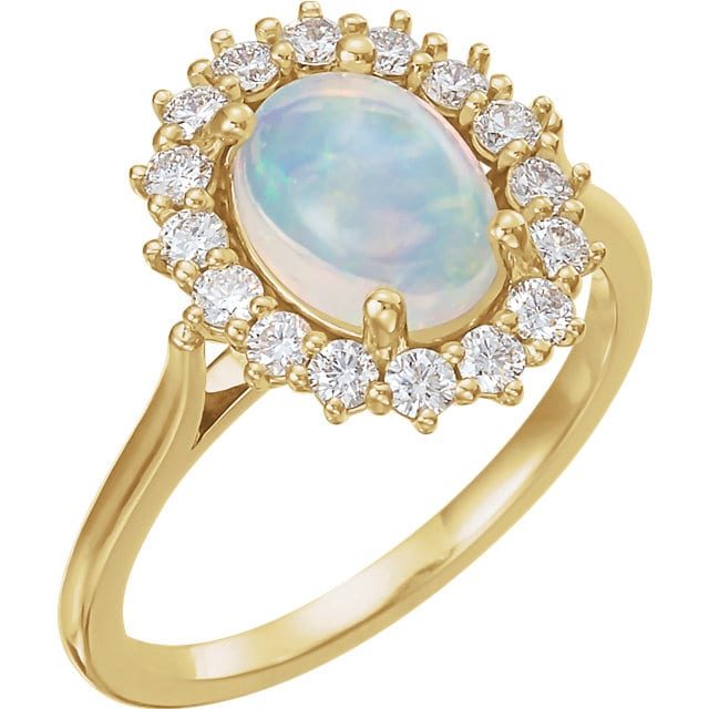 Oval Opal Ring With Diamond Halo In 14k Yellow Gold Bullion
